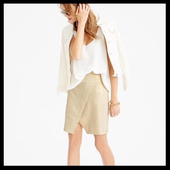 J. Crew Dresses & Skirts - j. crew // metallic gold linen wrap skirt NWT